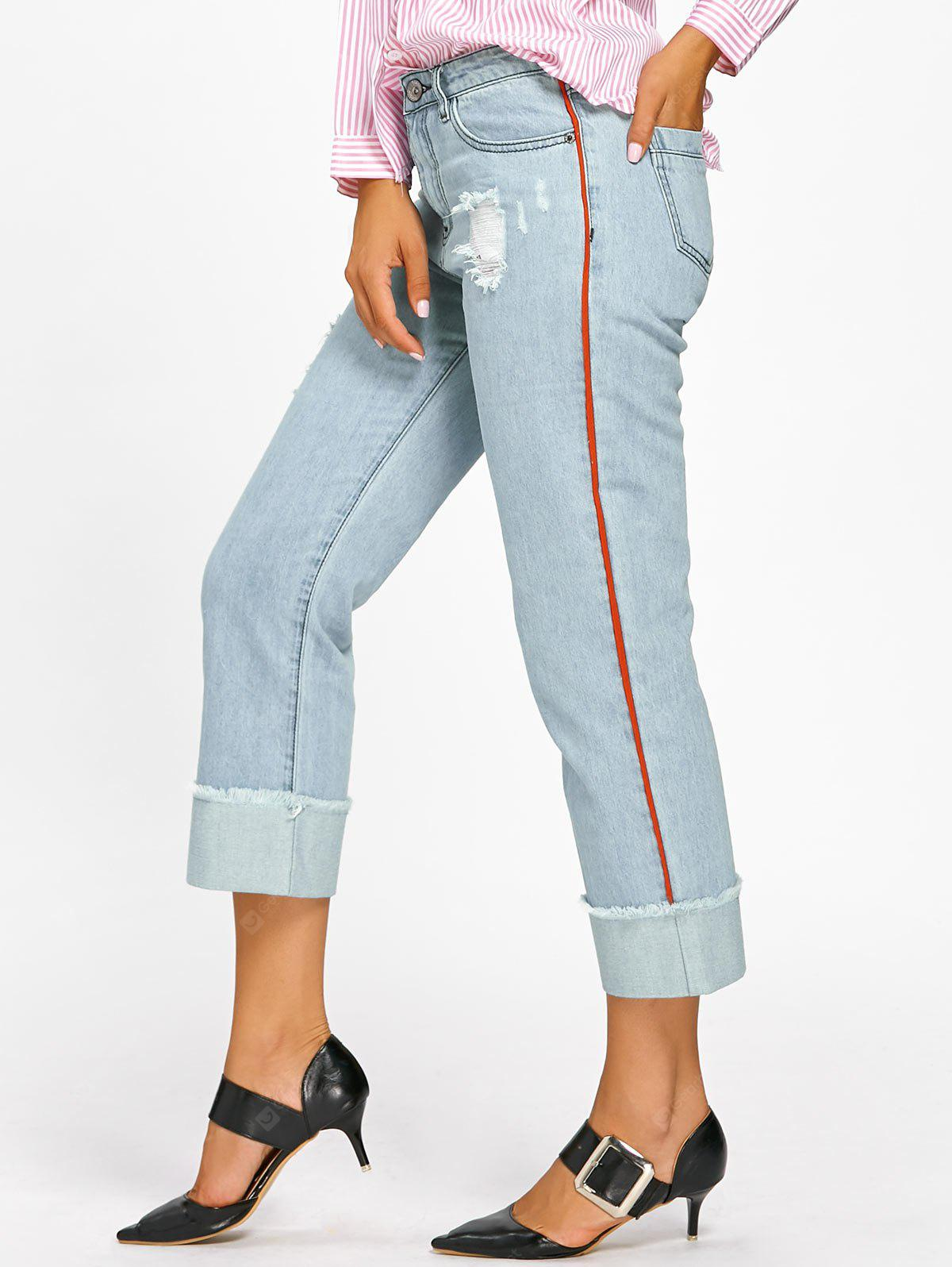 LIGHT BLUE 2XL Frayed Faded Cuffed Jeans