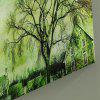 Town Tree Print Canvas Wall Art Painting - GREEN