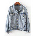 Denim Ripped Jacket with Pockets - DENIM BLUE