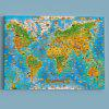 Wall Art World Map Print Canvas Painting - SEA BLUE