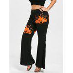 Halloween Pumpkin Lace Panel Plus Size Skirted Pants - BLACK