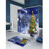 Falling Snow Christmas Tree Bath Shower Curtain - COLORFUL