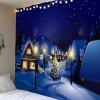 Christmas Snowscape Printed Waterproof Wall Hanging Tapestry - BLUE