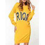 Rioio Graphic Long Sleeve Sweatshirt Dress - YELLOW
