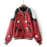 Floral Embroidered Button Up Baseball Jacket - RED