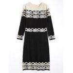 Rhinestoned Jacquard Long Sleeve Sweater Dress - BLACK