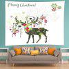 Wall Hanging Art Merry Christmas Deer Print Tapestry - WHITE