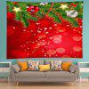 Wall Hanging Art Christmas Tree Baubles Print Tapestry - RED