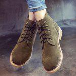 Buy Faux Suede Lace Ankle Boots 36 ARMY GREEN