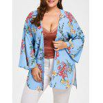 Floral Plus Size Flare Sleeve Long Cadigan - AZUL