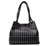 Stitching Plaid Faux Leather Shoulder Bag - BLACK
