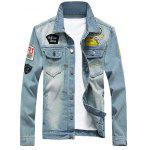 Chest Pocket Patch Design Distressed Denim Jacket - AZUL CLARO