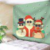 Santa Claus Snowman Deer Christmas Wall Tapestry - LIGHT GREEN