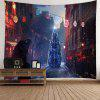 Christmas Street Pattern Waterproof Wall Hanging Tapestry - COLORFUL