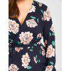 Plus Size Long Sleeve Floral Surplice Dress - BLACK BLUE