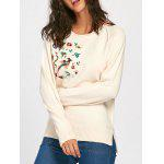 Raglan Sleeve Floral Embroidered Side Slit Sweater - APRICOT