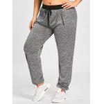 Plus Size Zipper Embellished Drawstring Waist Jogger Pants - GRAY