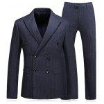 Vertical Stripe Double Breasted Blazer and Pants Twinset - DEEP GRAY