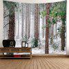 Forest Snow Pattern Waterproof Wall Hanging Tapestry - WHITE AND BROWN