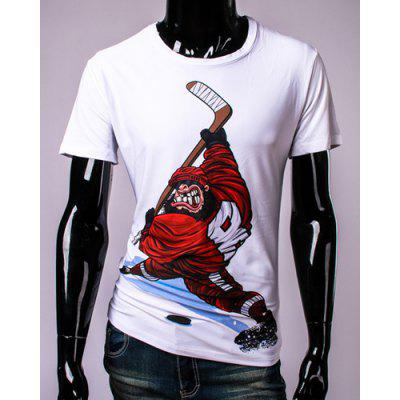 Gorilla Hockey Player 3D Print Round Neck Short Sleeve T-Shirt For Men