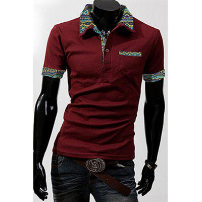 Buy Turn-Down Collar Patch Pocket Floral Print Splicing Short Sleeve Men's Polo Shirt, RED, M, Apparel, Men's Clothing, Men's T-shirts, Men's Short Sleeve Tees for $10.30 in GearBest store