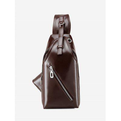 Faux Leather Zippers Front Crossbody Bag