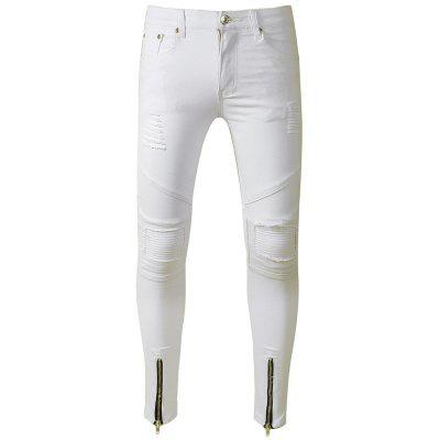 Buy WHITE Skinny Zip Hem Distressed Biker Jeans for $31.36 in GearBest store