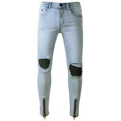 Buy LIGHT BLUE Skinny Zipper Hem Distressed Panel Biker Jeans for $31.78 in GearBest store