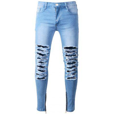 Zip Hem Skinny Jeans with Extreme Rips