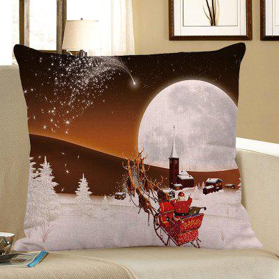 Buy WHITE AND BROWN Stars and Christmas Carriage Pattern Decorative Pillow Case for $4.56 in GearBest store