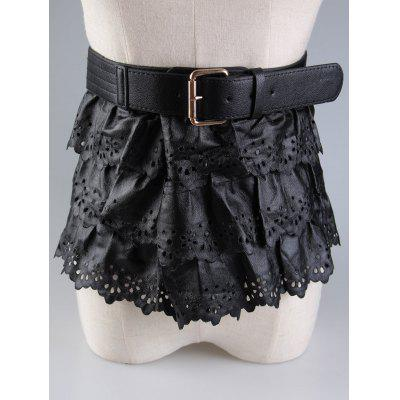 Layered Pin Buckle Cut Out Peplum Belt
