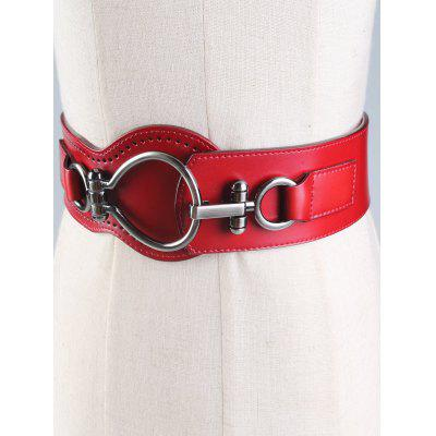 Faux Leather Wide Belt with Large Metal Clasp