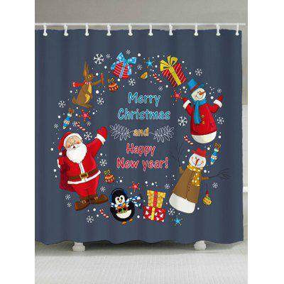 Christmas Snowman Santa Claus Shower Curtain