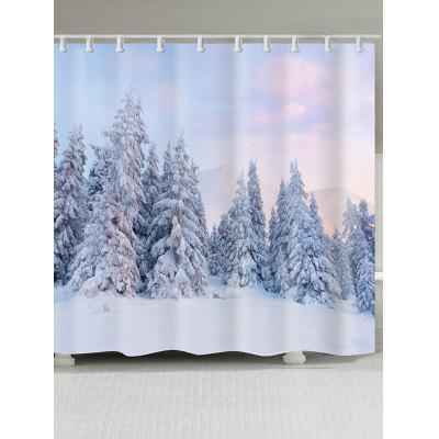 Snowfield Forest Printed Bath Shower Curtain