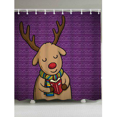 Bathroom Waterproof Christmas Deer Shower Curtain