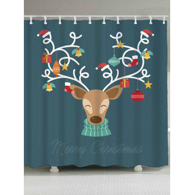 Christmas Reindeer Print Waterproof Bath Curtain
