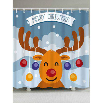 Christmas Cartoon Deer Waterproof Shower Curtain