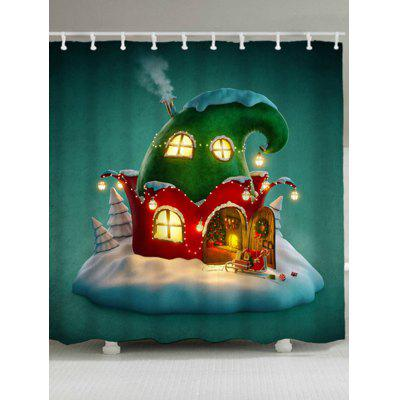 Waterproof Christmas Cartoon House Shower Curtain