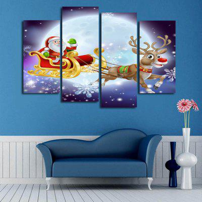 Christmas Sled Print Wall Art Split Canvas Paintings