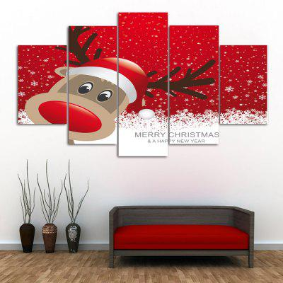 Wall Art Christmas Deer Print Split Canvas Paintings