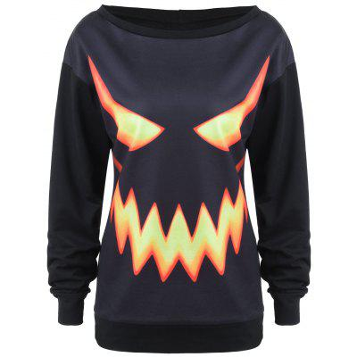 Crew Neck Pumpkin Face Halloween Costume Sweatshirt