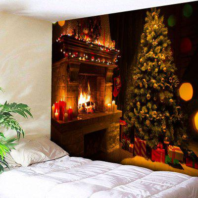 Buy COLORMIX Christmas Tree Fireplace Wall Art Tapestry for $12.79 in GearBest store
