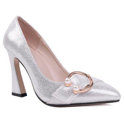 Beaded Metal Ring Sparkle Pumps