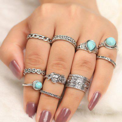 10 Pieces Turquoise Decorated Rose Vintage Rings