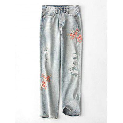 Buy DENIM BLUE M Ripped Floral Embroidered Tapered Jeans for $38.10 in GearBest store