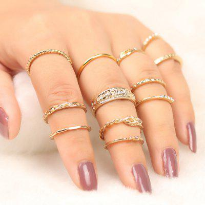 Alloy Engraved Circle Finger Ring Set