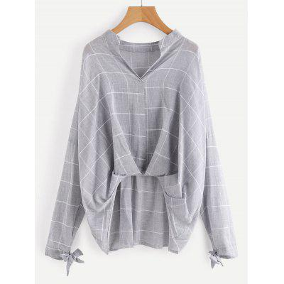 Buy GRAY S Gathered Checked High Low Blouse for $21.10 in GearBest store