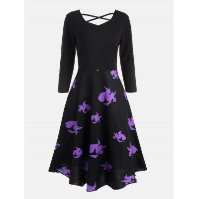 Buy BLACK 2XL Cross Back Halloween Witches Print Flare Dress for $22.51 in GearBest store