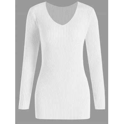 Buy WHITE 4XL Plus Size V Neck Ribbed Sweater for $26.18 in GearBest store
