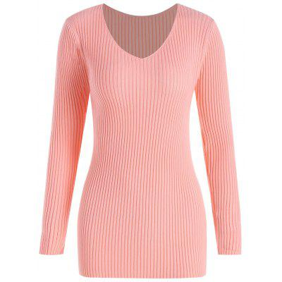 Buy PINK 4XL Plus Size V Neck Ribbed Sweater for $26.18 in GearBest store